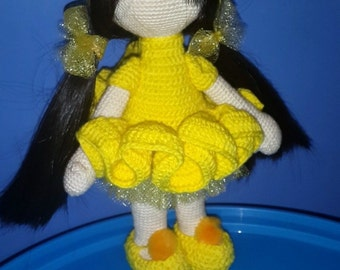 Doll, crochet amigurumi doll, yellow dress