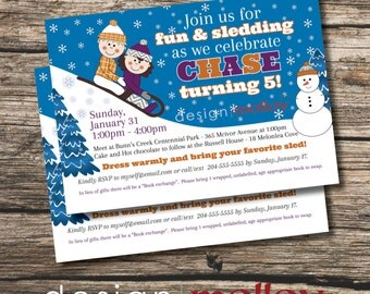 Winter Birthday Invitation, Printable Sledding Birthday Invitation, Customized Winter Birthday Party Invitation, Printable Invitation