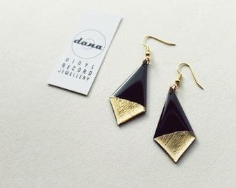 geometric earrings black and gold dangle earrings statement earrings upcycled earrings minimalist earrings sustainable fashion edgy jewelry