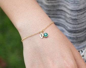 BIRTHSTONE BRACELET personalized initial mothers jewelry charm birthstone bracelet mom grandmother bridesmaid jewelry birth stone/ 221