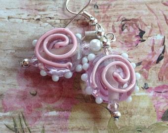 Pink Lampwork Earrings, Lampwork Earrings, Glass Earrings, Earrings, Gifts, Gift Ideas, For Her
