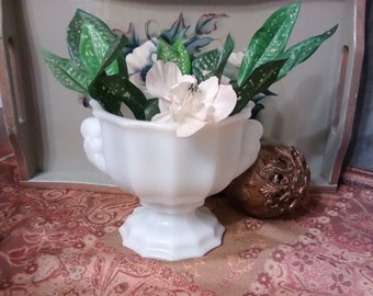 E.O. BRODY, vintage, retro, milk glass, collectibles, shabby chic, cottage chic, E.O. Brody glass vase, urn