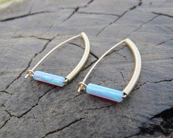 Gold Opal Studs, Gold Opal Stud Earrings, Blue Opal Earrings, Gold earrings, Opal Hoops, Minimal earrings, October Birthstone opal jewelry,