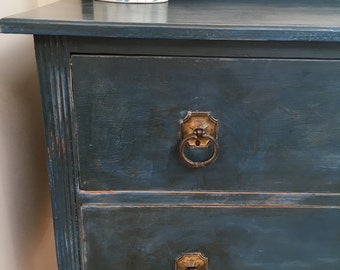 Vintage Chest of Drawers Hand Painted in Blue with Two Drawers