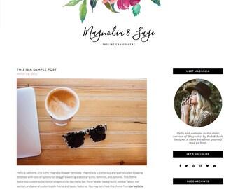 "Responsive Wordpress Blog Theme ""Magnolia"" - Feminine Self-Hosted Wordpress Blog Theme"