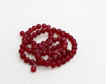 8mm Round Beads, Full Strand , Natural stone beads, Round Jade Beads, Jade , Semi Precious , Claret Red Beads, LAL43
