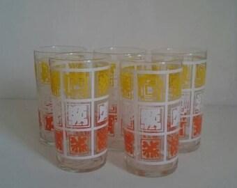 Five Retro Drinking Glasses