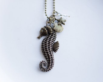Seahorse Charm Necklace - Seaside Jewelry - Coastal Sea Necklace - Clam Starfish Seahorse Charms - Nautical Jewelry - Custom Jewelry - Ocean