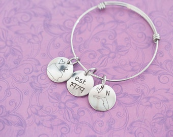 Long Distance Friendship or Relationship Adjustable Bangle - Any State -  Engraved Jewelry - Custom Engraving - Deployment