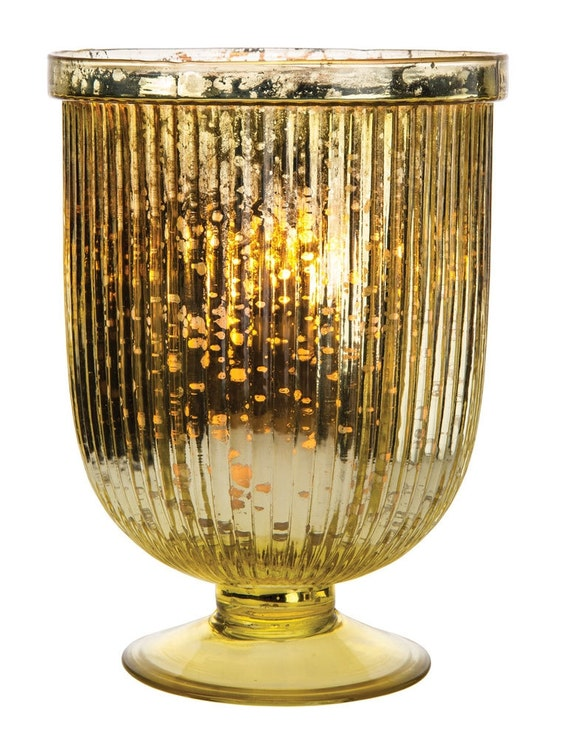 Items similar to large gold mercury glass fluted hurricane