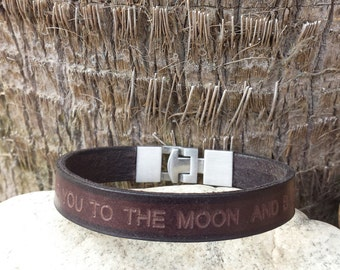 FREE SHIPPING-Mens Bracelet, Personalized Bracelet,Bracelet For Men. Leather Bracelet, Men Custom Wristband,  Stainless Steel Clasp,Bracelet