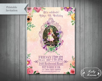 Fairy Birthday Party Invitation, Photo Birthday Party Invite, Woodland Party Invite, Princess Birthday Party Invite, Tea Party Birthday