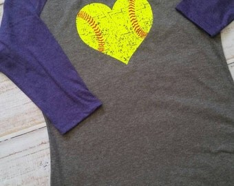 Softball love: softball shirt, distressed softball heart in neon yellow, softball mom, softball player, softball life, 3/4 raglan sleeve