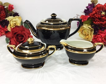 Elegant Vintage Black and Gold Hall Teapot Creamer & Covered Sugar Bowl for Tea Time Tea Party, Baby Shower, Wedding, Gift