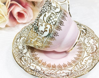 Royal Stafford English Tea Cup and Saucer, Pink & Gold Lace Bone China English Tea Cup, Saucer, For Tea Time, Tea Party, Wedding. #A141