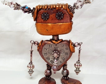 Mixed Media Polymer Clay Steampunk Robot