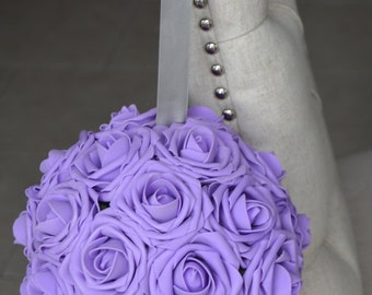 LAVENDER  Flower Ball, WEDDING CENTERPIECE, kissing ball, pomander, flower girl. Wedding Decor.