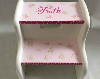 hand painted child's pink strips and flowers step stool