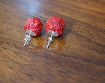 Stud red earrings handmade, made of  papier mache, simple, paper, colorful - ceramic effect,made in Italy, gift ideas for her, FREE shipping