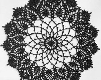 "Crochet doily, black, Halloween, 12"""