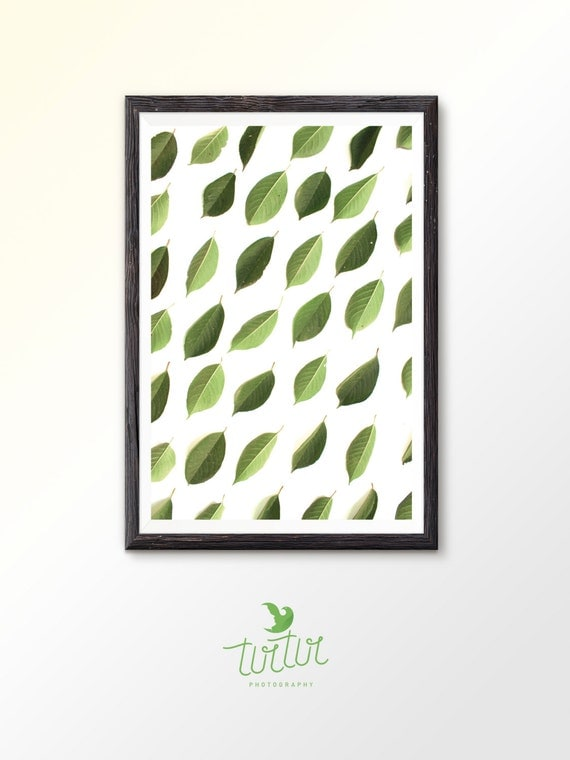 Leaf Art Green Art Green Print Leaves Decor Printable Wall Art Botanical Print Plant Art Plant Decor Green Leaf Nature art Green leaf print