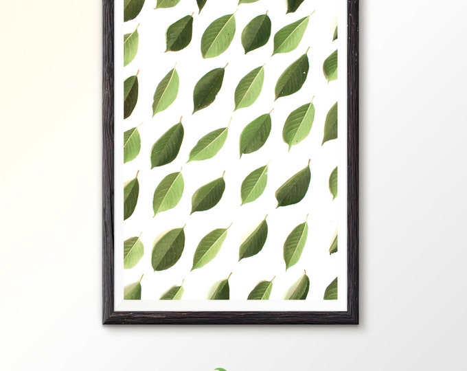 Leaf Art Green Art Green Print Leaves Decor Printable Wall Art Botanical Print Plant Art Plant Decor Green Leaf Nature art Green leaf print