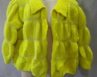 Flouro yellow wool Hand dyed vintage hand knitted Bubble cardigan