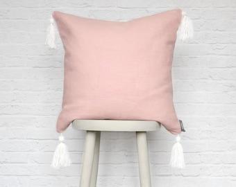Pink Rose Quartz Tassel Cushion Pillow, Linen Cotton Pink
