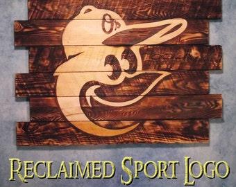 Baltimore Orioles, FREE UV protector, 30X23, Burnt wall hanging, Shou Sugi Ban, Charred wood, Sports, Man cave, Barn wood, Wood Sports sign