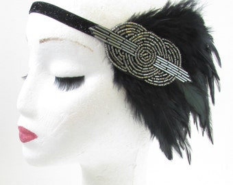 Charcoal Silver Grey Black Feather Headband 1920s Flapper Great Gatsby Vintage Fascinator Headdress Dress Art Deco Charleston Hair Band V36