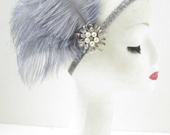 Grey Silver Feather Headpiece Great Gatsby Flapper Headband 1920s Hair Band Y50