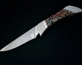 Father's day gift, Lockback folder, damascus knife, collectable knives, one-of-a-kind knives, steel, knives with stone, art knife