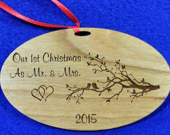 1st Christmas Together. Engraved Ornament. First Christmas As Mr & Mrs. Personalized Ornaments. Ornaments. Love Bird Ornament. Free Shipping