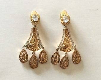 70s Zini Gold Plated Brass and Rhinestones Chandelier Earrings