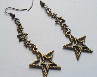 Shooting Star Earrings , Bronze Earrings , Dangling Earrings , Long Earrings , Celestial Earrings , Handmade Jewelry , Gift