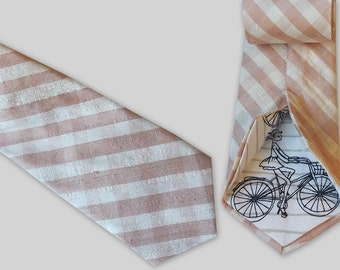 Dusty Pink Gingham Tie - Raw Silk Ties - Blush Wedding Neck Ties