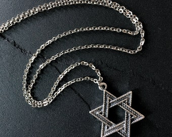 "Silver Star of David Necklace Pendant on 24"" Stainless Steel Chain // Religious // Hanukkah"