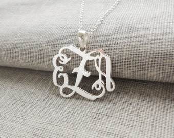1 3/4 inch Monogram Charm Necklace,Silver Large Initials Necklace,3 Initial Necklace Charm,Nameplate Necklace,Bridesmaids Gifts
