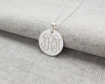 Sterling Silver Disc Monogram Necklace,Small 3 Initial Disk Necklace,Engraved Disc Pendant,Initial Disk Necklace,Celebrity Circle Necklace