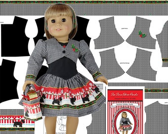"""18"""" Doll Clothes Kit -  """"Scotties Holiday"""" Christmas Dress and Jacket - by Tea Time Fabric Panels - Fabric, Sewing Guide & Notions Included"""