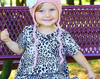 Girl Crochet Hat Toddler Child Earflap Beanie Pink Flower Hat