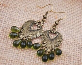 Greenery Leaf Drop Earrings, Festival Dark Green Earrings, Bohemian Hoops, Gypsy Boho Large Dangles, Boho Jewelry