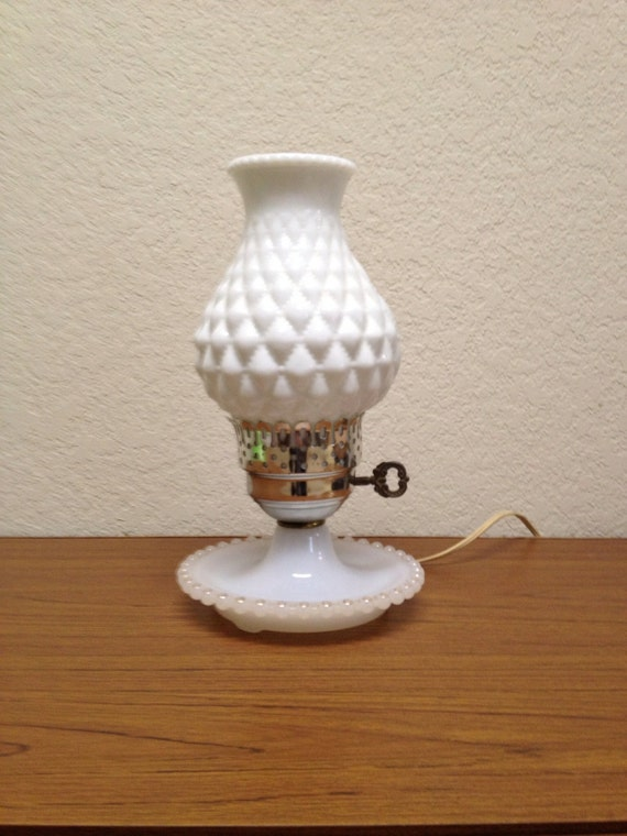 Vintage White Hobnail Lamp Vintage Hobnail Glass Lamp