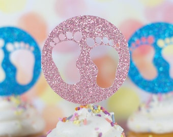 Baby Shower Cupcake Toppers - Gender Reveal Cake Toppers - Boy or Girl Cake Toppers - Baby Shower Decor - New Baby Cake Topper
