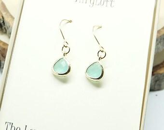 Bridesmaid gift mini Earrings. Aqua Light blue earrings. Bridesmaid earring,Wedding jewelry, Wedding Party gifts