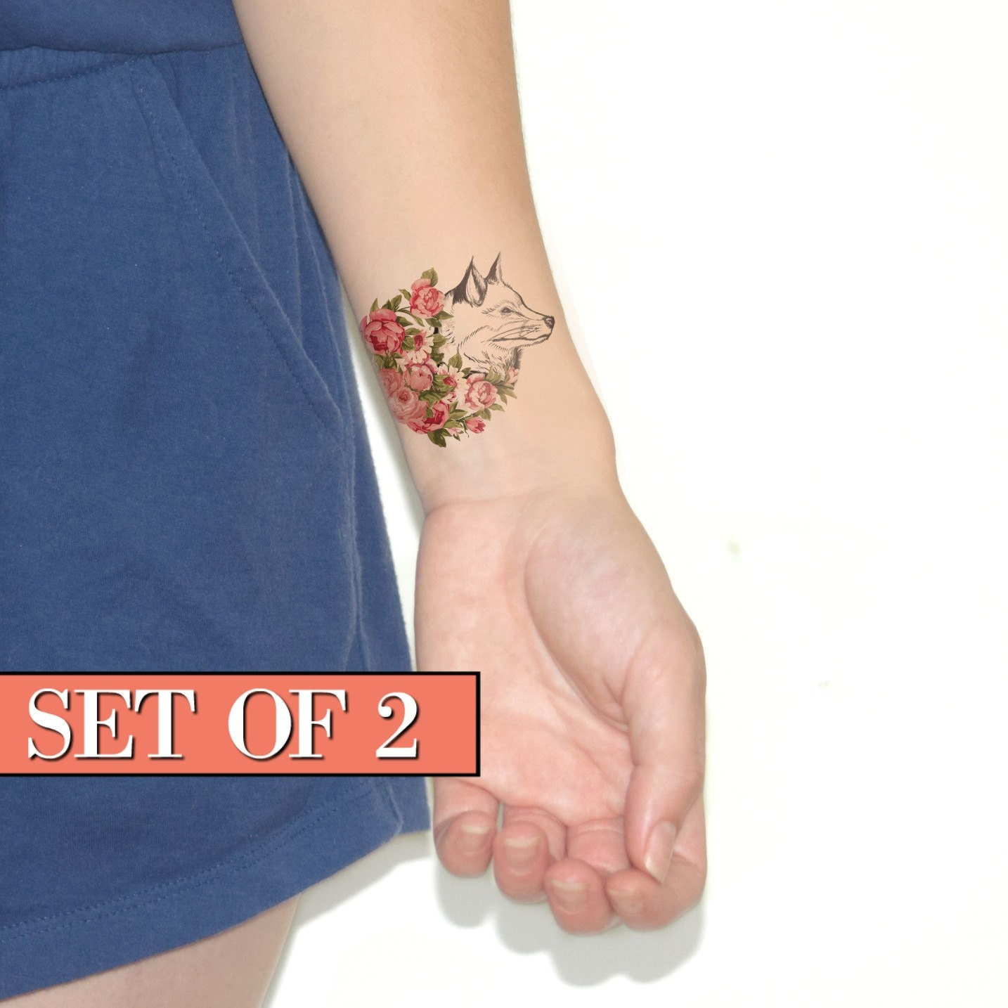 Temporary Tattoo Ink: Floral Fox Temporary Tattoo Ink Flower Blue Vintage By