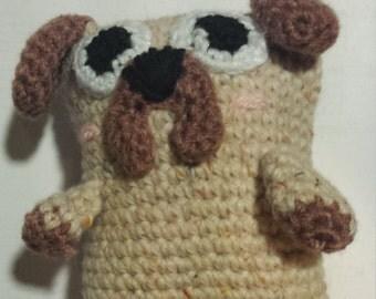 Pug Toy - Squeaky Dog Plush Toy. Crocheted Amigurumi Kawaii Pug