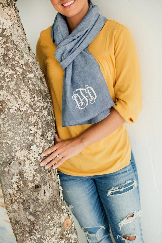 ON SALE Monogrammed Scarf, Chambray Scarf, Chambray Accessories, Personalized Fashion Scarf, Monogrammed Gifts, Personalized Gifts
