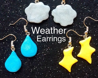 Weather earring sets Rain cloud earrings Rain drop Thunderstorm lighting jewelry Funny cute jewelry Thunderbolt earrings