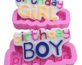 Set of 2 - Birthday Boy & Girl Icing Fondant Mold - Create Birthday Cake Decorations, Chocolates or Soaps